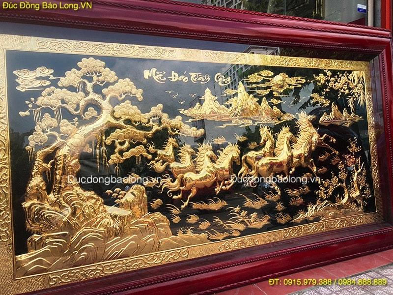 Tranh Bát Mã 2m3 được phủ Vàng ròng 24k