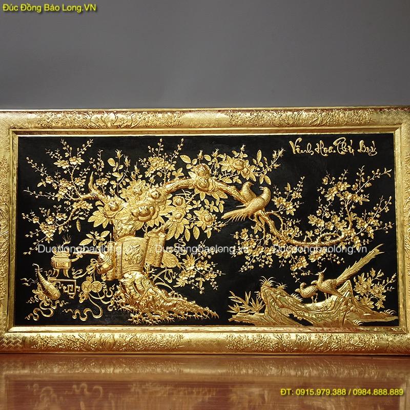 Bức tranh Vinh Hoa Phú Quý khung liền đồng mạ vàng 24k