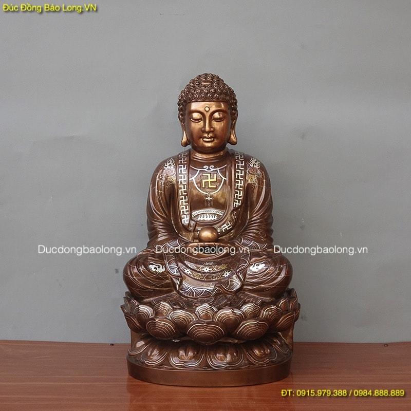Tượng Phật Thích Ca khảm tam khí cao 61cm