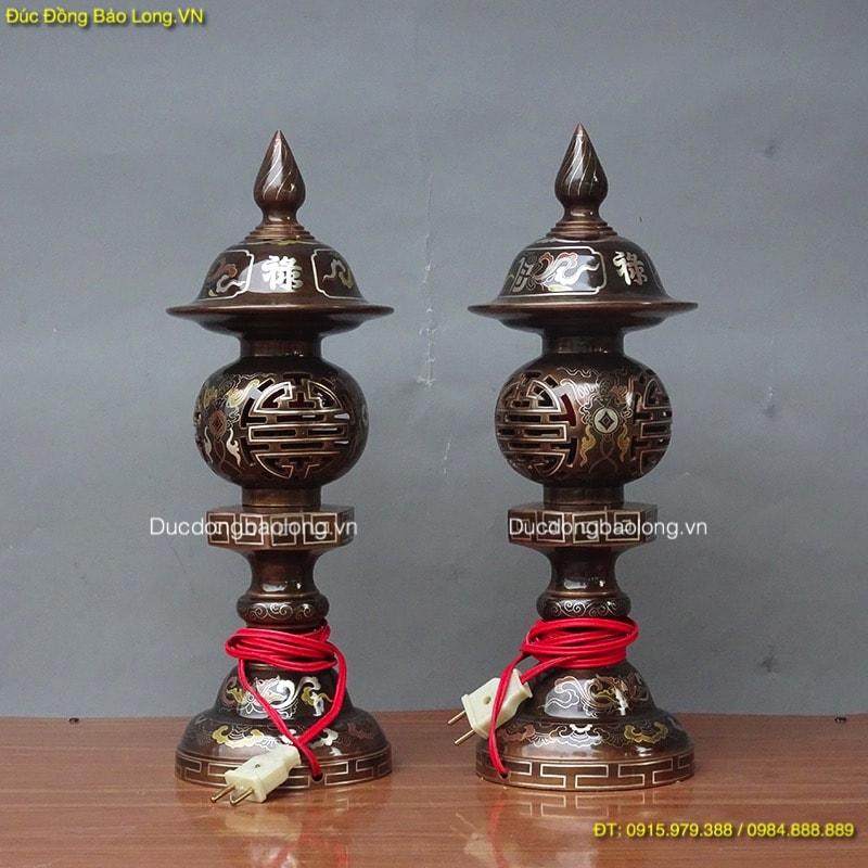 Đèn Đồng Khảm Tam Khí cao 42cm đặt bàn thờ