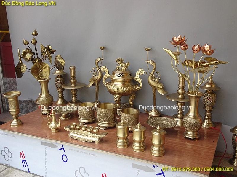 Bộ Đồ Thờ Bằng Đồng Thau, đỉnh thờ hoa sòi cao 60cm