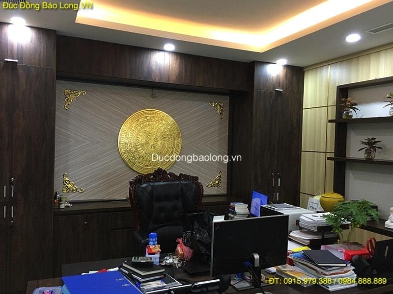 Mặt Trống Đồng Đúc Dát Vàng 9999 đk 90cm