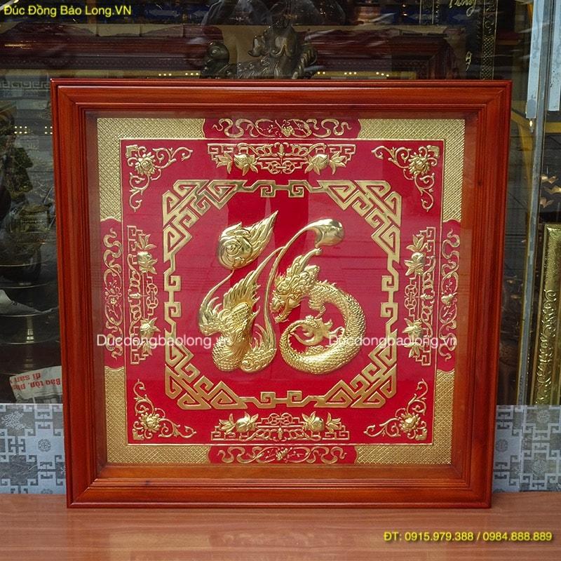 Chữ Phúc Hoá Rồng Mạ Vàng 24k, nền màu đỏ, vuông 88cm