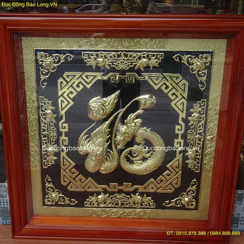 Tranh Chữ Phúc Long Phụng, nền đen khung gỗ 88cm