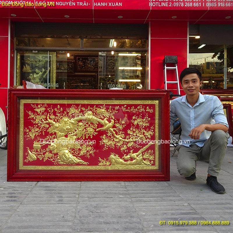 Tranh Vinh Hoa Phú Quý mạ vàng, nền màu đỏ 1m55