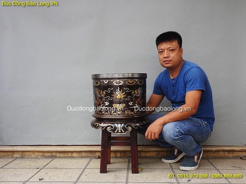 Bát Nhang Đồng Khảm Ngũ Sắc đk 40 làm cho Chùa ở Hải Phòng
