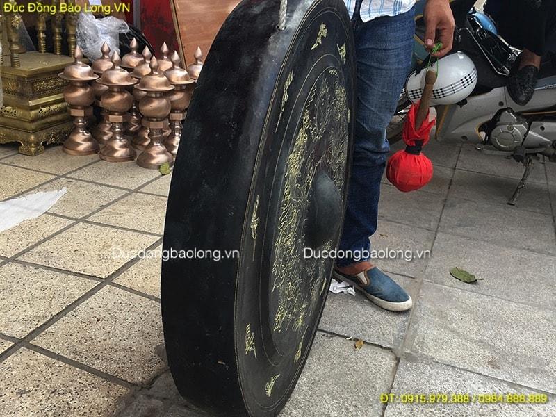 Chiêng Đồng 80cm ám hoa văn rồng chầu đẹp