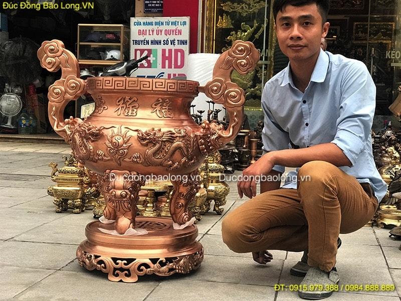 Lư Hương Đồng Long Phụng cỡ lớn cao 86cm