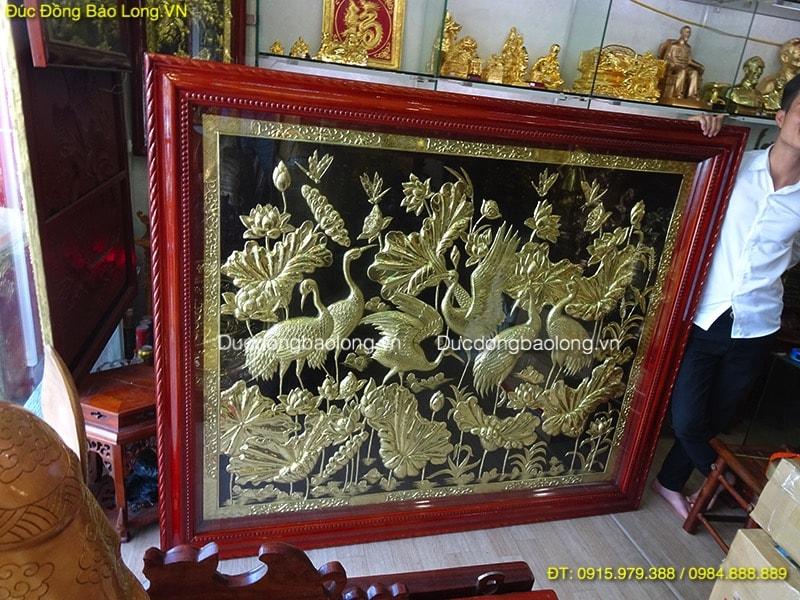 Tranh Hoa Sen Chim Hạc bằng đồng dài 1m76