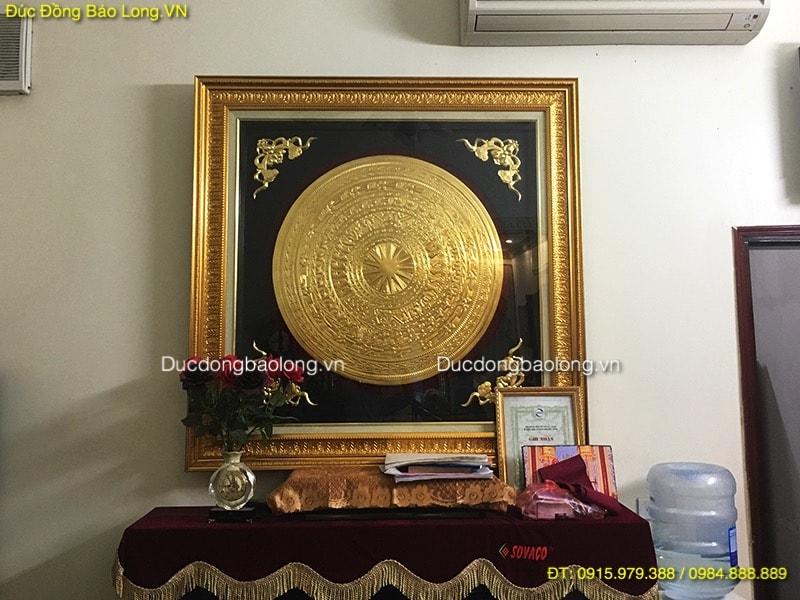 Tranh Mặt Trống Đồng 80cm dát vàng 9999