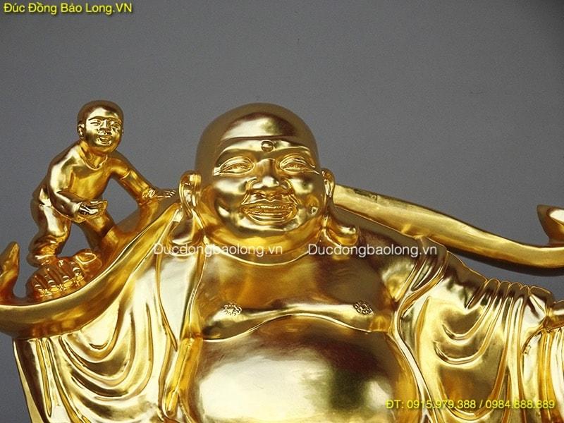 Tượng Phật Di Lặc Kéo Tiền dát vàng 9999