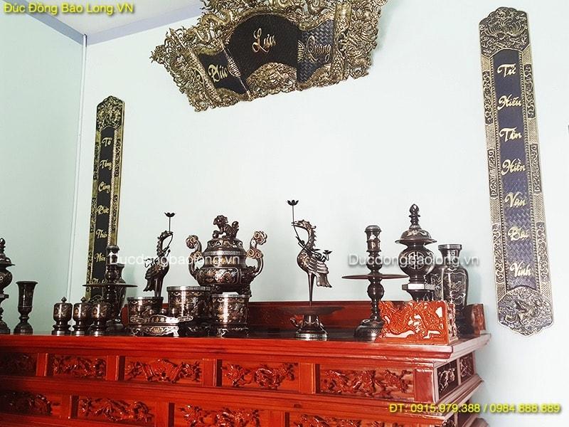 Bộ đồ thờ đầy đủ khảm Ngũ Sắc cho bàn thờ 2m37