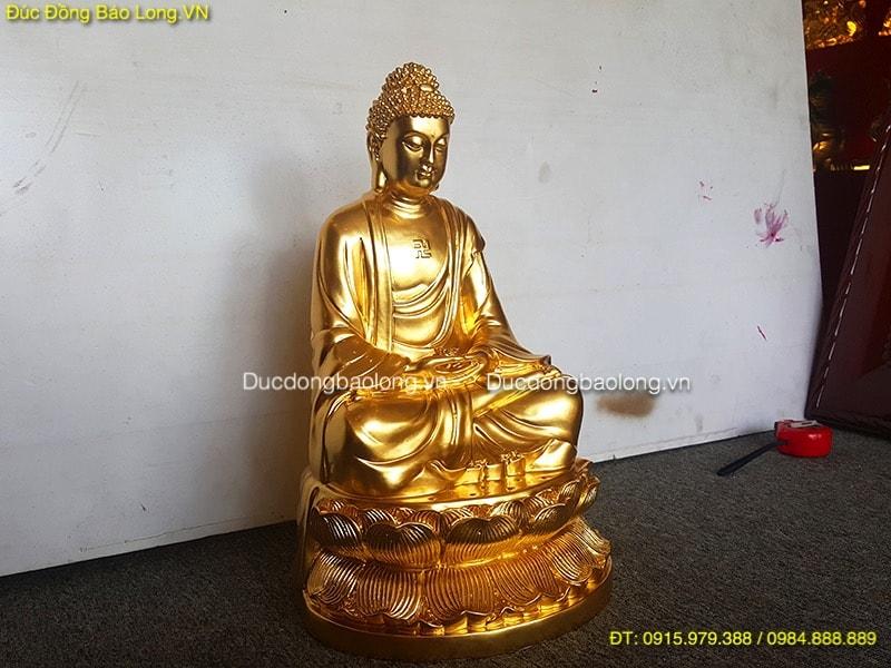 Tượng Phật Thích Ca Dát Vàng 9999 cao 48cm