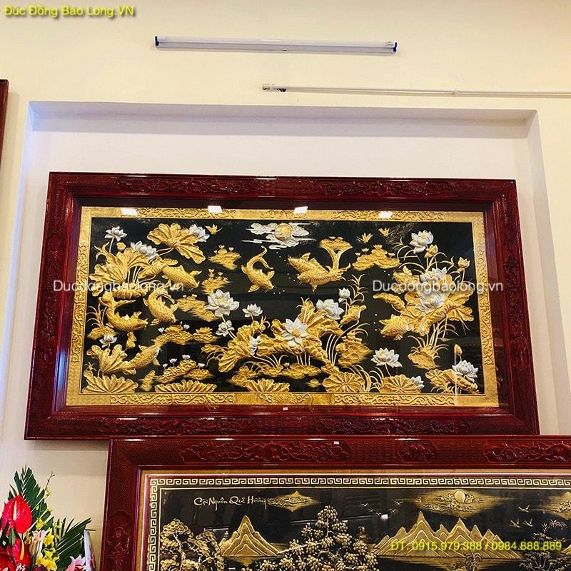 Tranh Cửu Ngư Hoa Sen 2m31 mạ Vàng dát Bạc