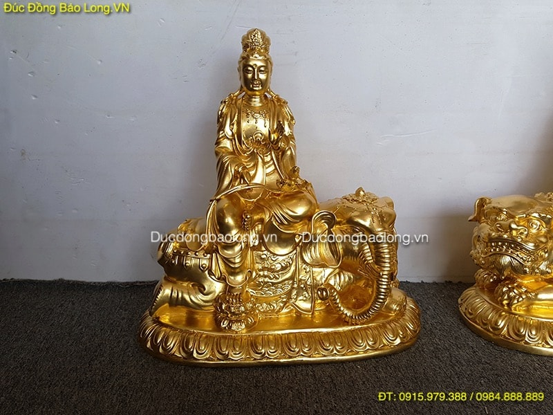 Tượng Văn Thù Phổ Hiền Dát Vàng 9999 cao 40cm