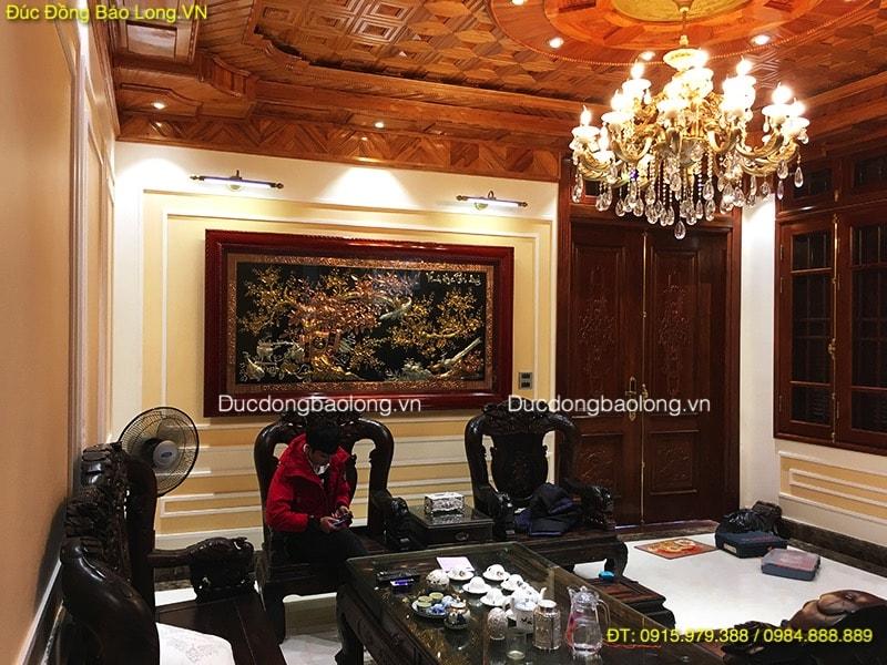 Tranh Vinh Hoa Phú Quý mạ vàng dát bạc dài 2m31