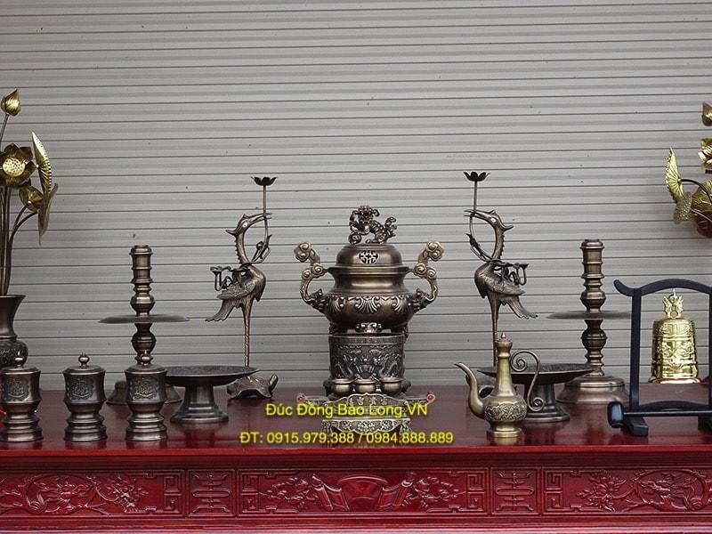 Bộ đồ thờ bằng đồng 45cm hun giả cổ