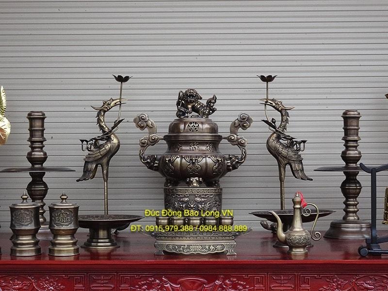 Bộ đồ thờ Đỉnh Dơi Tiền giả cổ cao 60cm