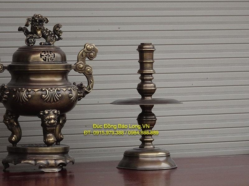 Bộ tam sự đỉnh nến giả cổ cao 45cm bày bàn thờ