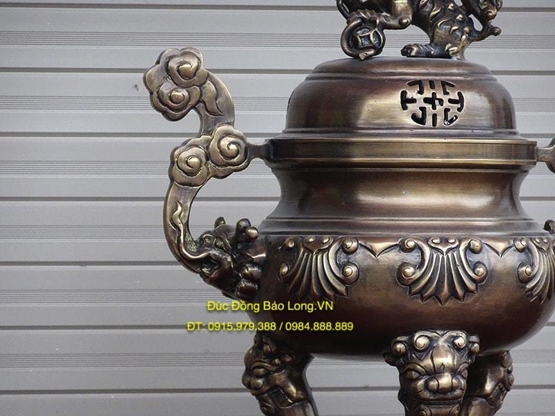 Đỉnh Đồng Hun Giả Cổ cao 45cm thờ gia tiên