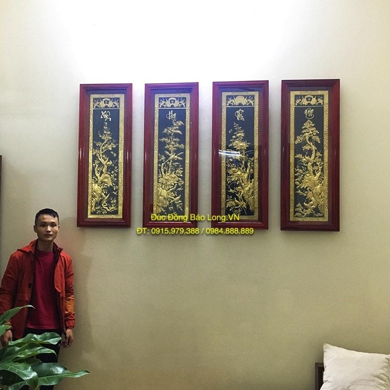 Tranh Tứ Quý Mạ Vàng, khung gỗ Hương 1m1