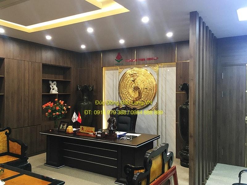 Mặt trống đồng treo tường Mạ Vàng đk 1m2