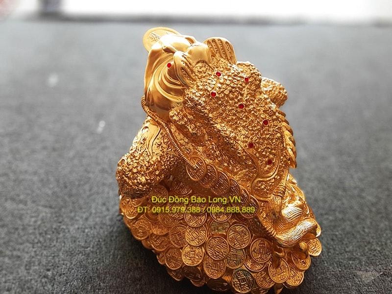 Cóc bằng đồng ngậm Tiền dát vàng cao 38cm