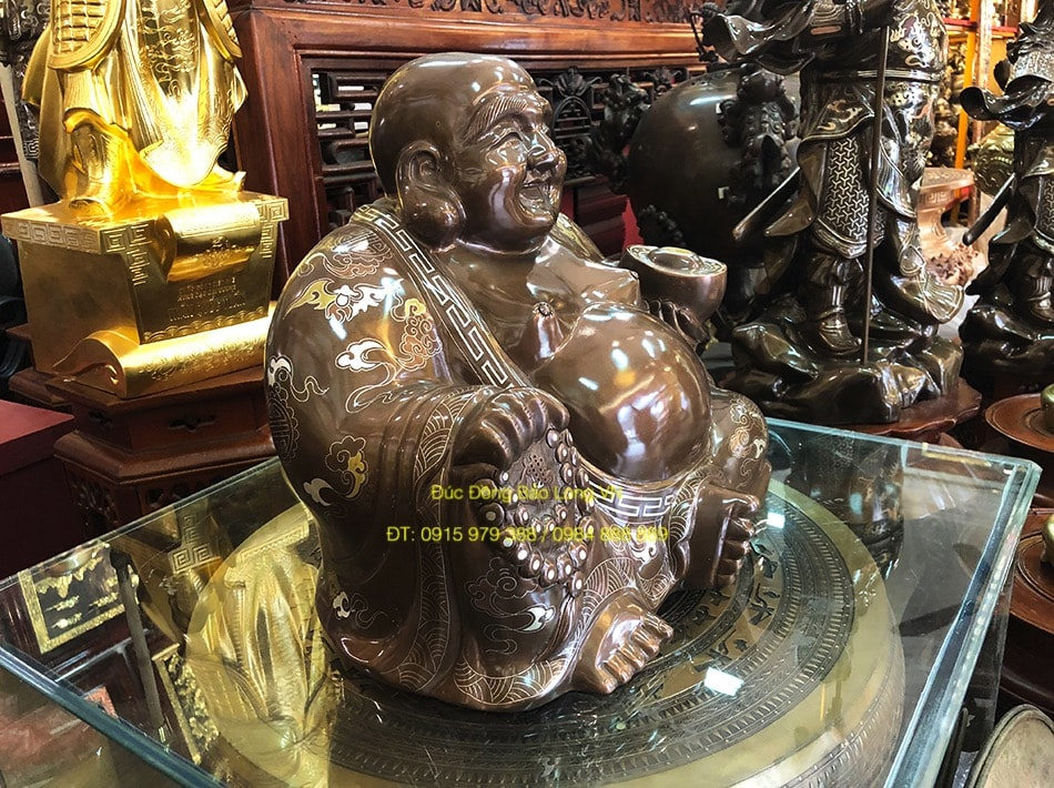 Tượng Phật Di Lặc bằng đồng khảm tam khí