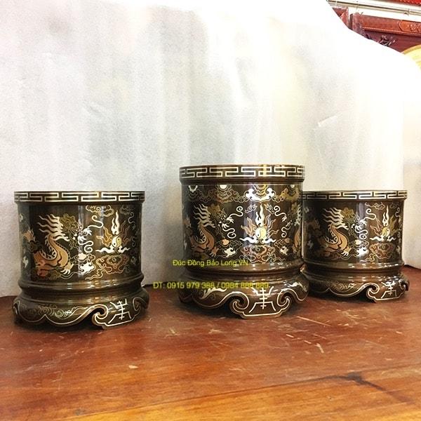 Bát Hương Đồng thờ gia tiên khảm Tam Khí