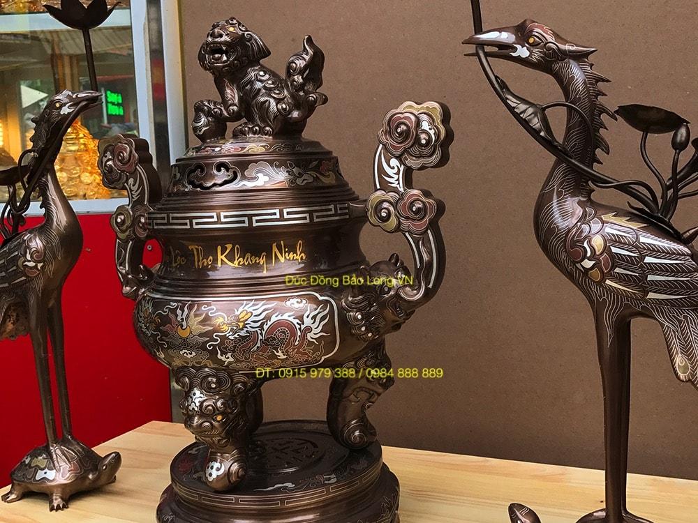 Bộ tam sự khảm chữ Việt bằng đồng 50cm