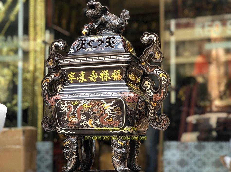 Đỉnh đồng Vuông khảm Ngũ Sắc cao 60cm