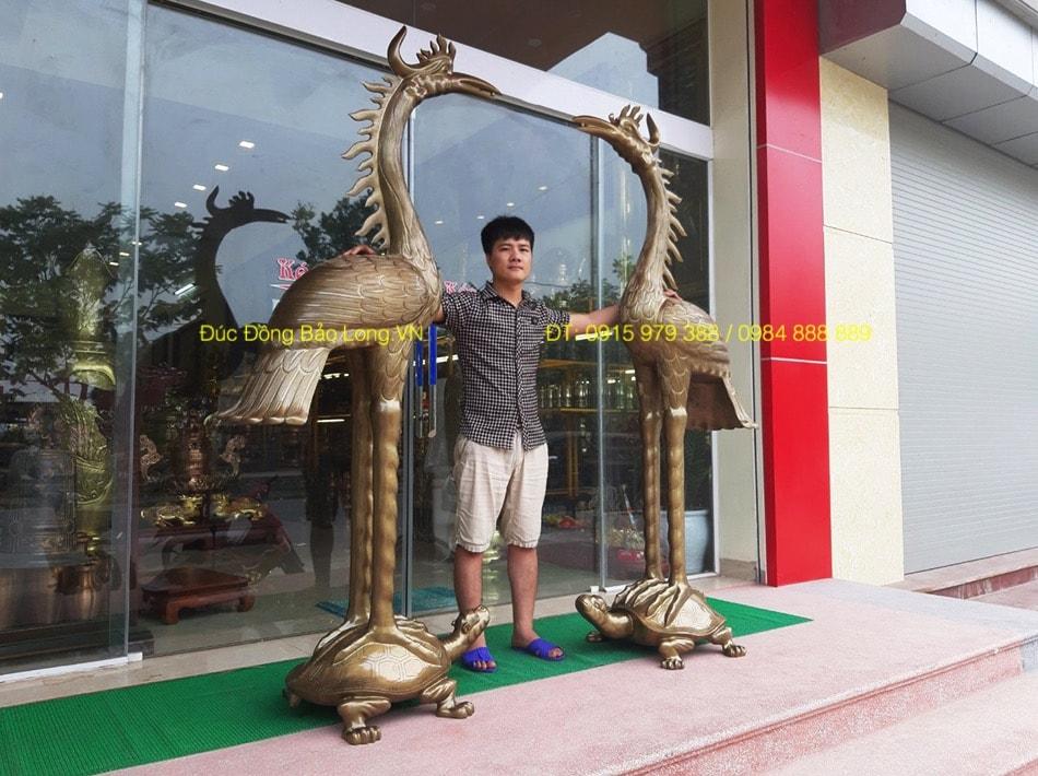 Hạc thờ bằng Đồng Đỏ thờ cúng cao 2m17