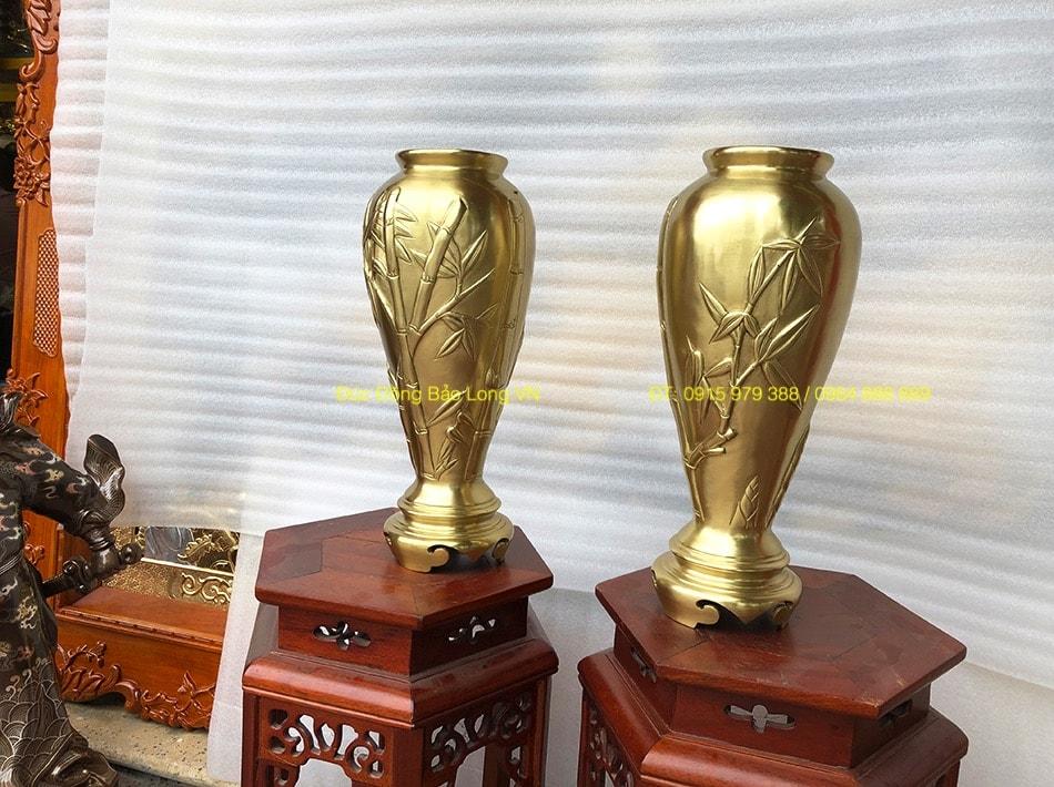 Lọ hoa Trúc bằng đồng vàng Cát Tút 40cm