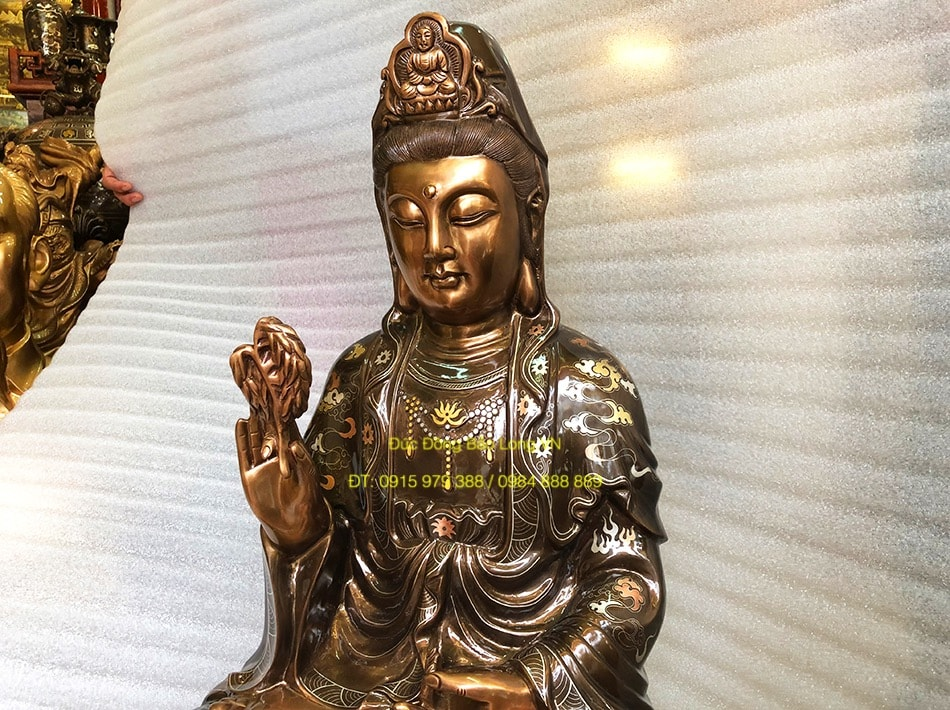 Tượng Phật Bà khảm tam khí cao 81cm