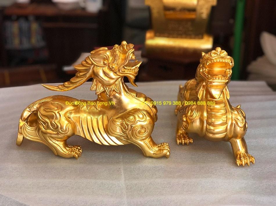 Tỳ Hưu phong thuỷ bằng đồng dát vàng 9999