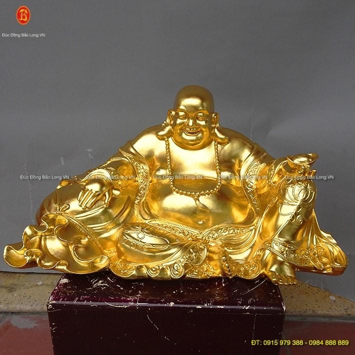 Tượng phật Di Lặc ngồi bao tiền dát vàng 63cm