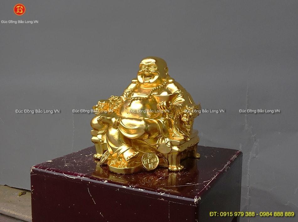 Tượng Di Lặc ngồi ngai dát vàng cao 25cm