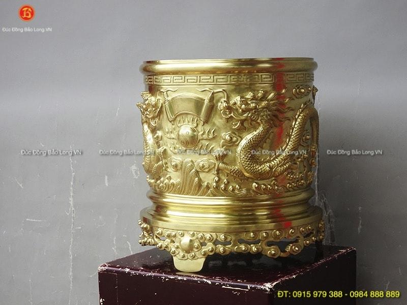 Bát hương đồng Cát Tút đúc rồng nổi 37cm