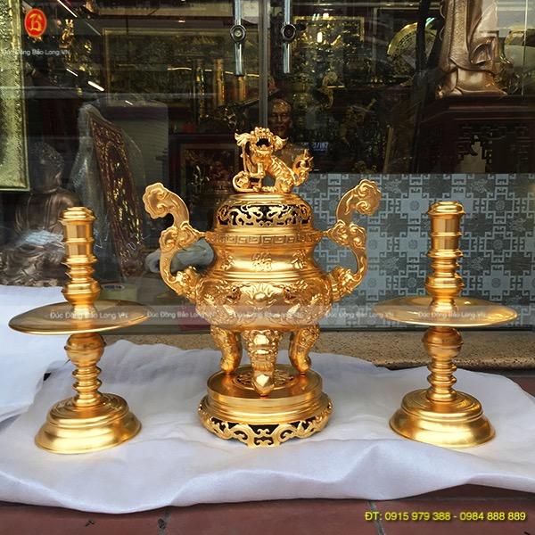 Bộ Tam Sự Đỉnh Nến Dát Vàng cao 60cm