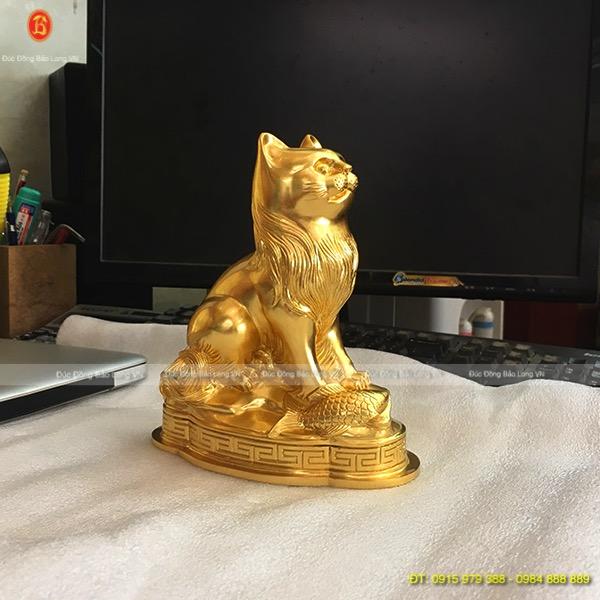 Con Mèo Dát Vàng 9999 đẹp cao 19cm