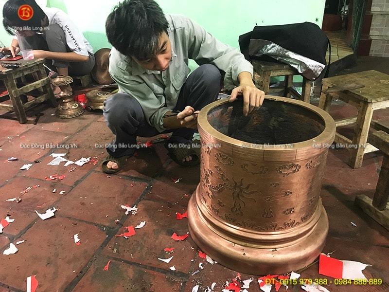 Các sản phẩm đồ thờ bằng đồng tại Bảo Long được chế tác thủ công tinh xảo