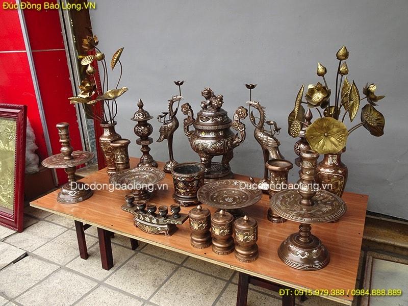 mua đồ thờ bằng đồng khảm tam khí tại Tuyên Quang