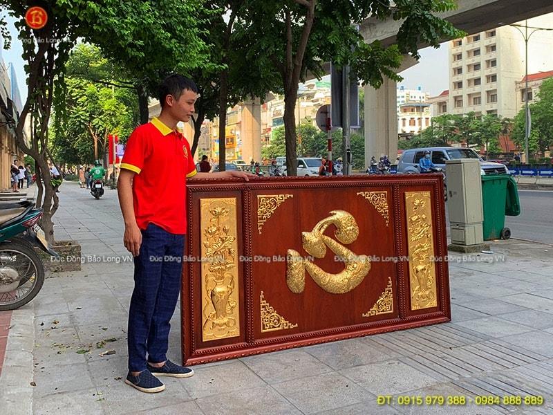 Tranh chữ Tâm hoa Sen khung gỗ Hương 1m97