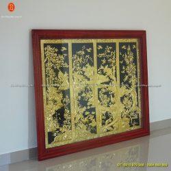 Treo bức Tranh Tứ Quý ở Thanh Hoá, tranh tứ quý mạ vàng 24k