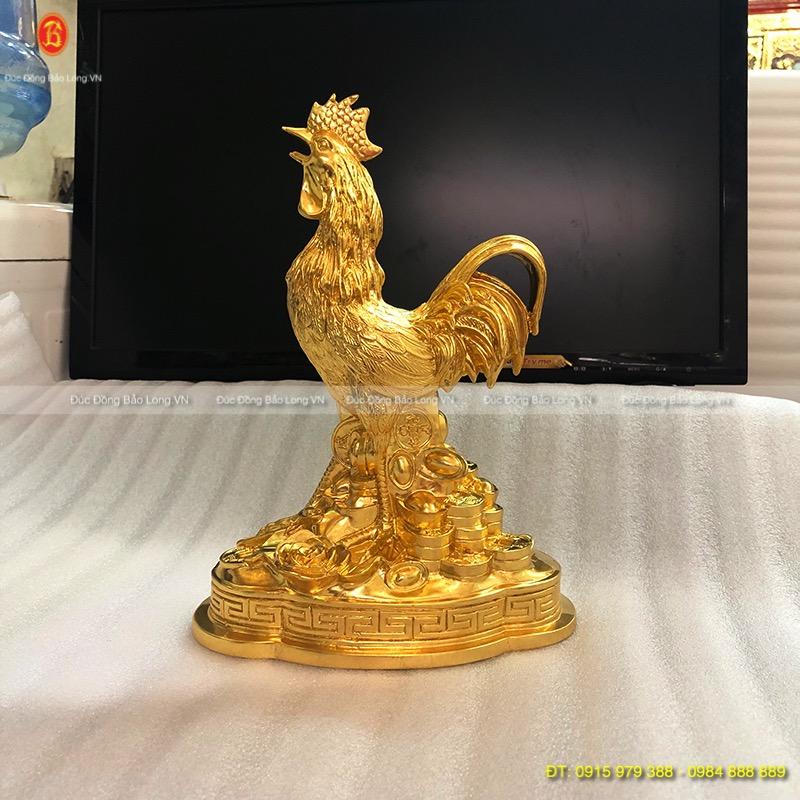 Con Gà Dát Vàng lá 9999 đẹp cao 21cm