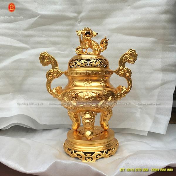Đỉnh Đồng Dát Vàng 9999 đúc Rồng nổi