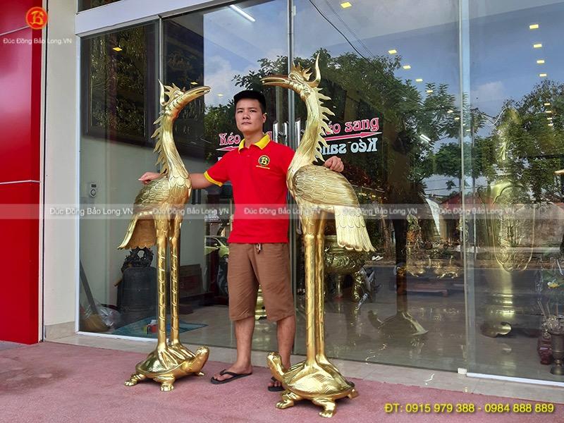 Hạc Đồng Vàng cát tút thờ cúng cao 1m76