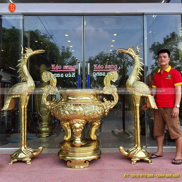 Lư Hương Hạc Thờ Bằng Đồng cát tút Cao Cấp