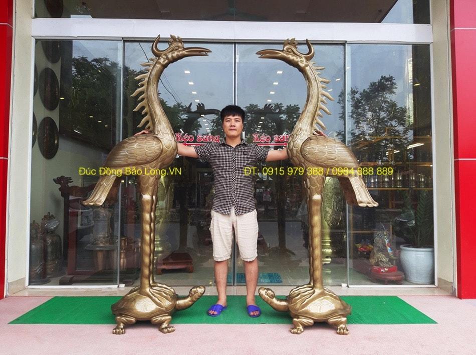 đồ thờ bằng đồng tại quận Long Biên, hạc thờ bằng đồng