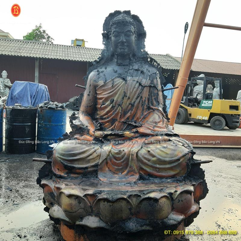 Đúc tượng Phật bằng đồng tại An Giang, sửa nguội